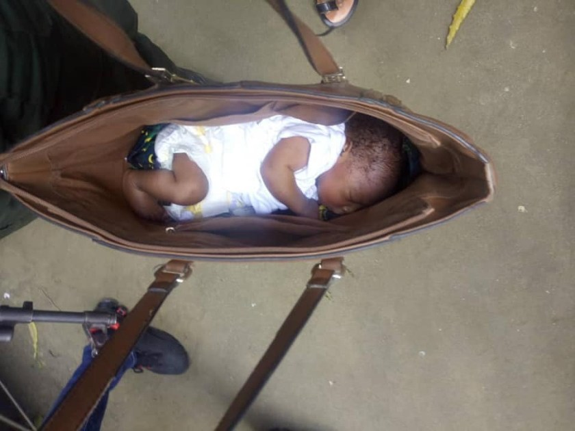 Photos: Couple apprehended with stolen baby hidden inside their bag in Port Harcourt