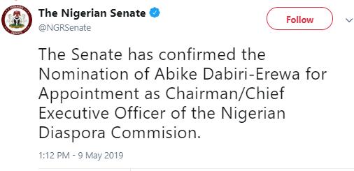 Senate confirms Abike Dabiri-Erewa as Chairman of Nigerian Diaspora Commission