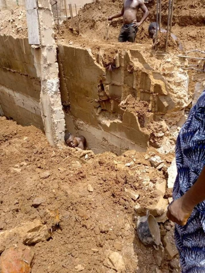 Photos: Young man killed in Enugu after the foundation he was digging at a construction site collapsed on him