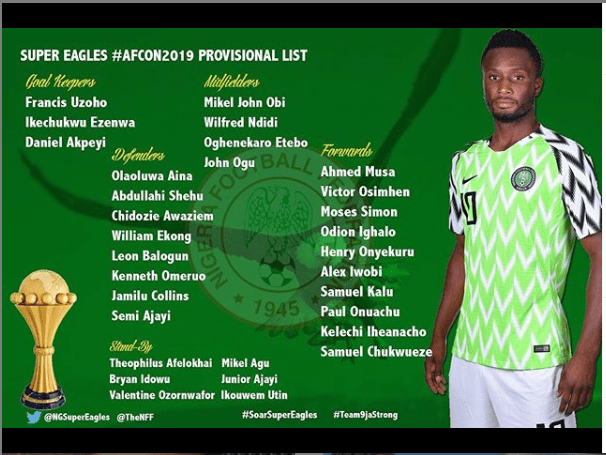 Super Eagles coach Gernot Rohr names provisional list ahead of 2019 AFCON in Egypt?