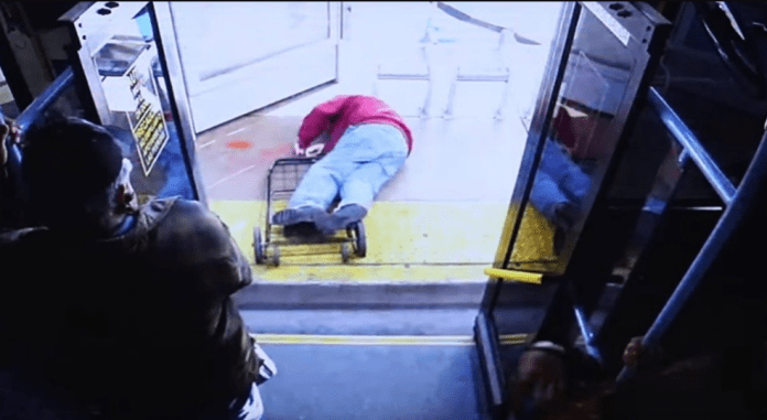 disturbing footage shows elderly man fall and die after woman pushed him off bus (Watch)