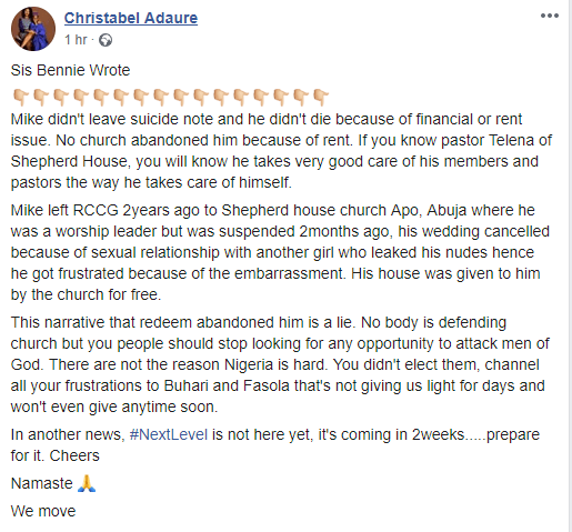 RCCG pastor committed suicide because his wedding was called off and his nude was in circulation- Facebook user alleges