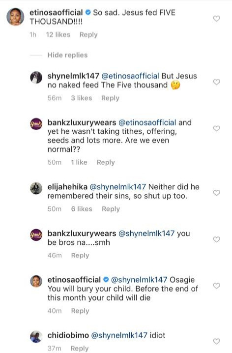 Your child will die before the end of this month- Etinosa tells troll who mocked her on her IG page