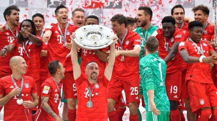 Bayern Munich stars Franck Ribery & Arjen Robben sign off in style as they help win Bundesliga title for the German club