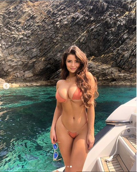 British model, Demi Rose flaunts her assets in a tiny bikini (Photos)
