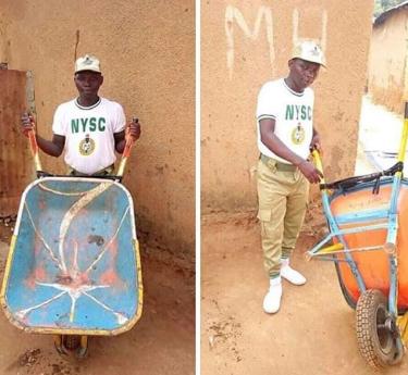 Inspiring photo of Wheelbarrow pusher in his NYSC uniform