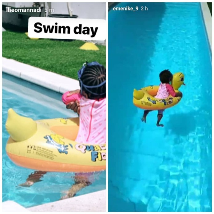 Photos: Footballer Emmanuel Emenike and wife, Iheoma, take their daughter swimming amidst reports that their marriage is in crisis