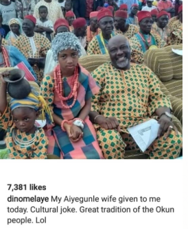 """Speed Darlington calls out Dino Melaye for making a joke of a little girl """"given to him as a wife"""" at a ceremony in Kogi state"""