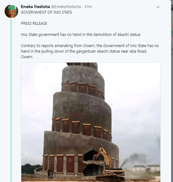 Governor Ihedioha denies ordering the demolition of monuments built by Okorocha