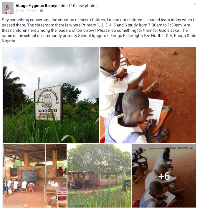 """Photos: """"I sheded tears when I passed there"""" - Man bemoans state of a primary school in Enugu State"""
