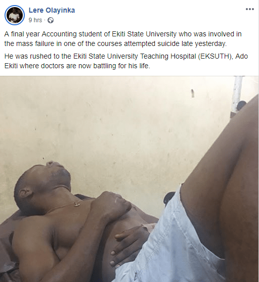 Ekiti state University student attempts suicide over his failure in one of his courses  (photo)