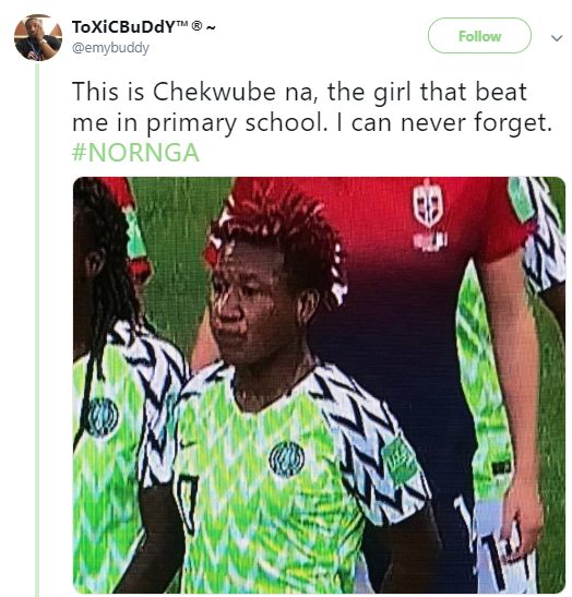 Nigerian man shares photo of a Nigerian female footballer that gave him serious beating in primary school
