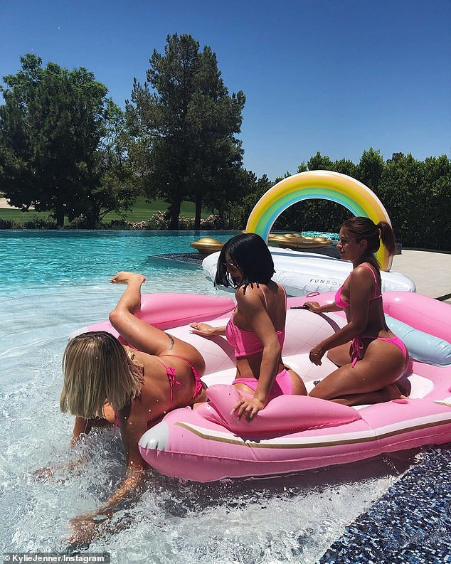 Kylie Jenner treats her BFF Anastasia Karanikolaou to a pool party as they flaunt their banging bikini body (Photos)