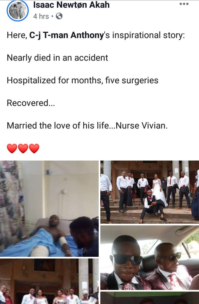Man who nearly died in road accident weds one of the nurses who helped him recover