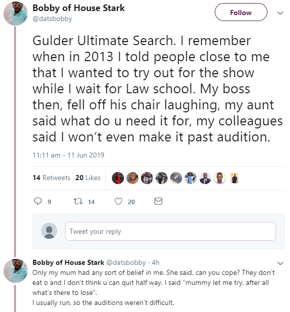 Gulder Ultimate search contestant narrates his experience before and after the show in an eye opining thread (screenshots)