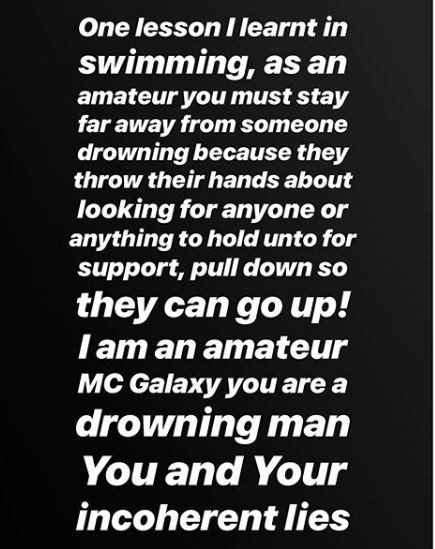 You are a drowning man, stop?lying to Nigerians, they are not stupid - Etinosa calls out MC Galaxy over IG live nude video saga