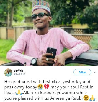 Nigerian man dies 24 hours after bagging first class degree (photo)