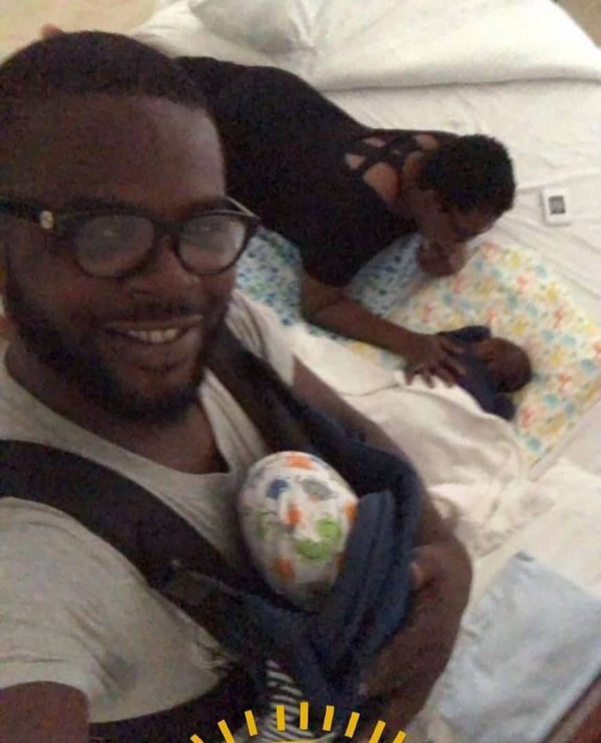 Funke Akindele-Bello shares lovely photos of her hubby, JJC Skillz with their twin boys as she wishes him #HappyFathersDay