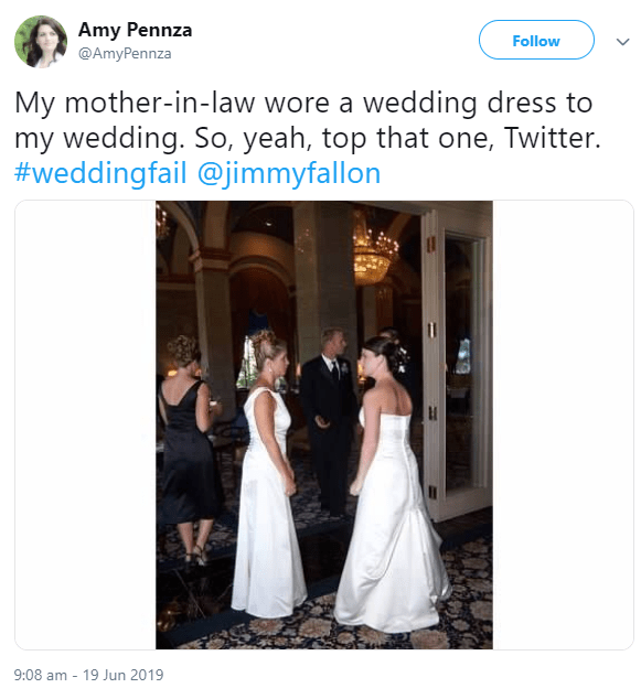 Woman recalls her shock at seeing her mother-in-law wearing a wedding gown with a bridal updo at her wedding