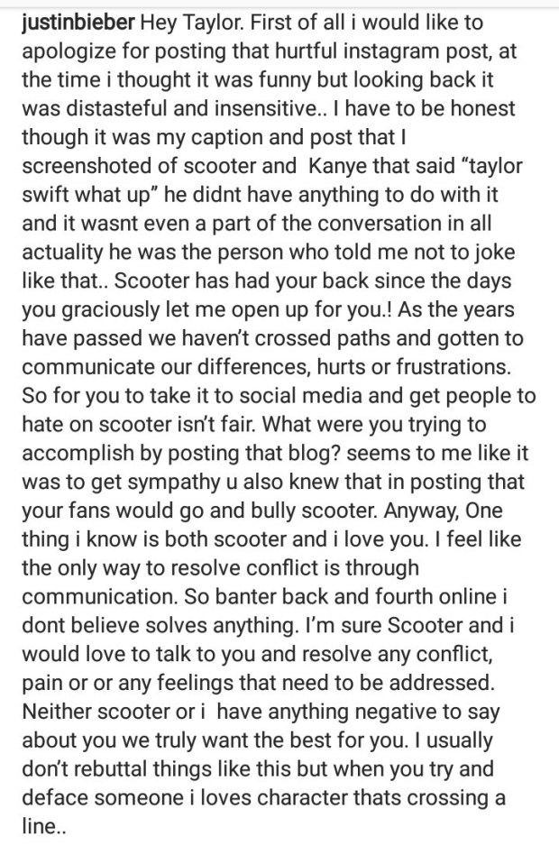 Justin Bieber cautions Taylor Swift for calling out Scooter Braun