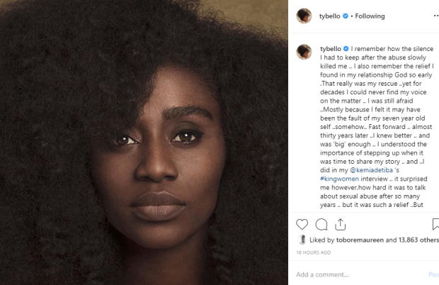 TY Bello recounts how being silent after she was sexually abused killed her slowly