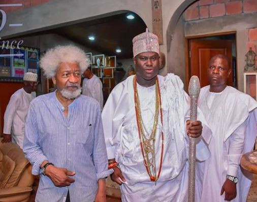 Photos: Ooni of Ife visits Wole Soyinka, issue joint communique saying,