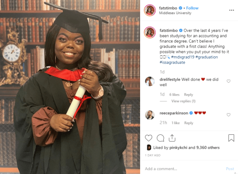 Popular Instagram small person, Fatima Timbo, bags a degree