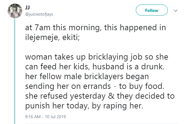 Male bricklayers allegedly punish female bricklayer by raping her