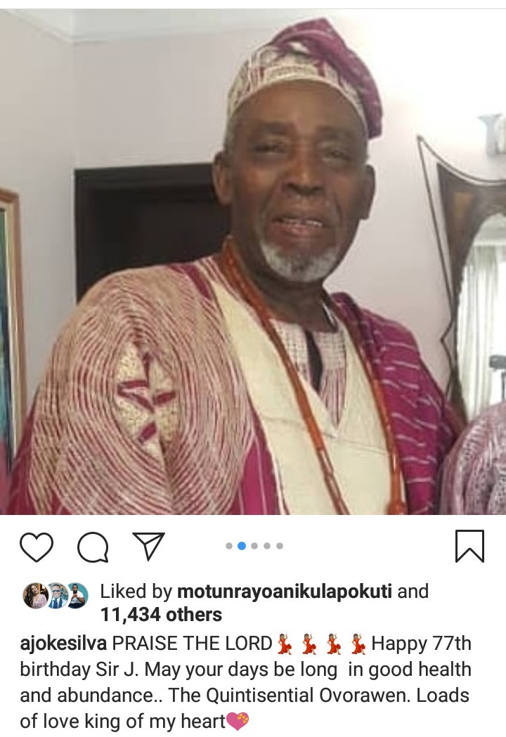 """King of my heart"" Joke Silva wishes Olu Jacobs a happy birthday with sweet words"