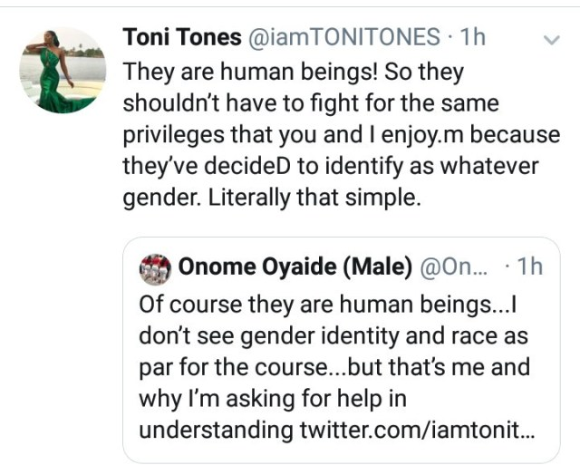 """Are they not human beings?"" Toni Tones defends equality for transgenders"