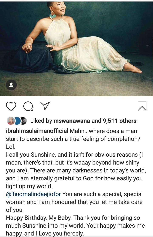Linda Ejiofor's husband Ibrahim sing her praise on her birthday