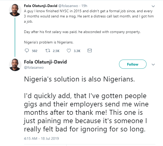 Twitter stories: Man who got a job 4 years after NYSC, absconds with company