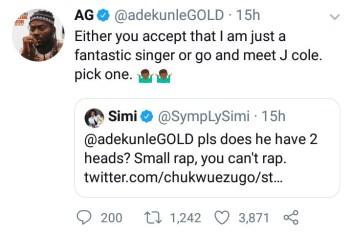 Adekunle Gold gives Simi an ultimatum in hilarious Twitter exchange; Simi