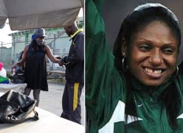 Photos: Nigerian Olympic medalist, Gloria Kemasuode roaming the streets of?Bayelsa State finally gets help