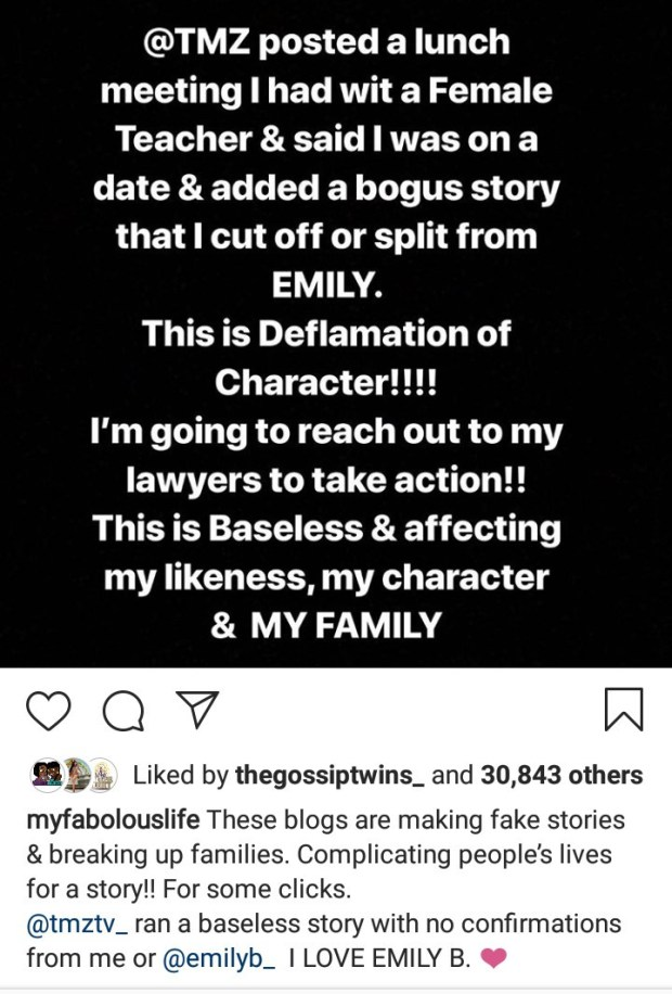 Fabolous threatens to sue, says the unidentified woman he was with is a teacher as he debunks claims he and Emily B have split