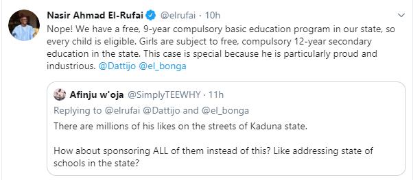 Governor El-Rufai pledges to sponsor the education of Almajiri boy who doesn