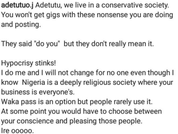 """""""I will not change for no one""""- Model Adetutu says as she shares naked body paint photos"""