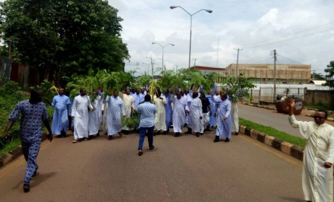Photos: Enugu Catholic Priests stage protest over the gruesome murder of Late Rev. Fr. Paul Offu