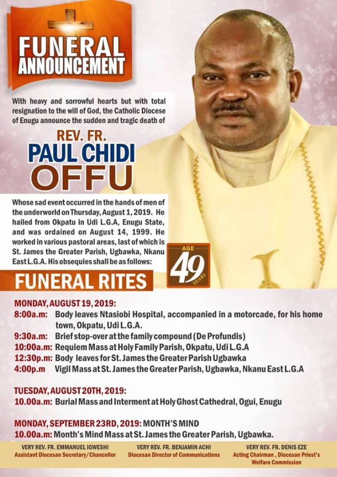 Rev Fr Offu killed by suspected herdsmen to be buried on August 20th