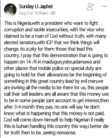 Policeman arrested for insulting President Buhari, Osinbajo, IGP on Facebook