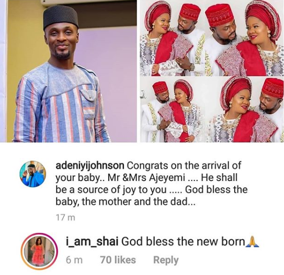 Adeniyi Johnson and girlfriend, congratulate Toyin Abraham on her wedding and arrival of her baby boy