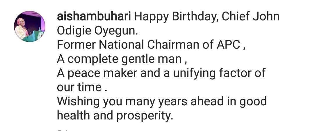 Aisha Buhari shakes a major table with her birthday message to John Odigie-Oyegun