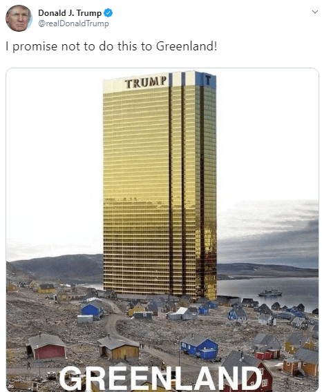Donald Trump makes Twitter joke about Greenland but it doesn