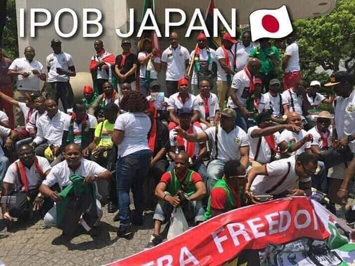 Photos of protesting IPOB members waiting for President Buhari in Japan