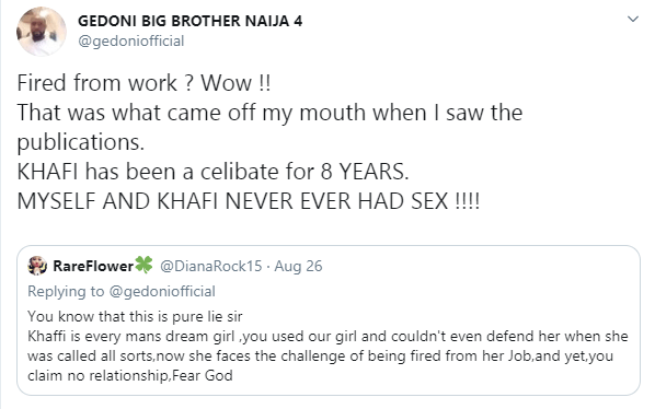BBNaija: Khafi has been celibate for 8 years, we never had sex - Gedoni
