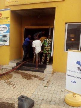 Nigerians set MTN office on fire in Lagos (photos)