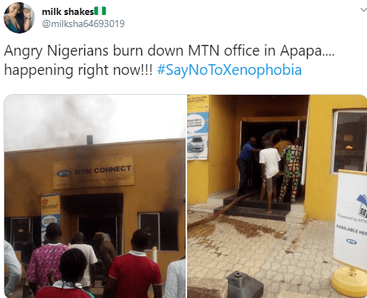 Photos As Nigerians set MTN office on fire in Lagos Apapa (Xenophobic Attack)