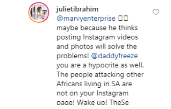 You are just like those people killing other Africans- Juliet Ibrahim slams Daddy Freeze for calling Nigerian celebrities hypocrites for 'ignoring' Xenophobic attacks lindaikejisblog 1