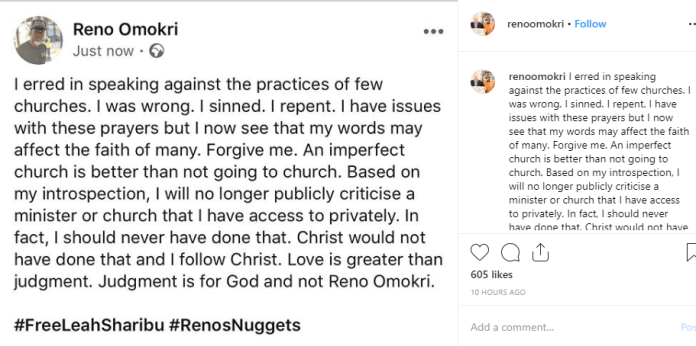 Reno Omokri apologizes for speaking against some church practices, says he will no longer criticize a Pastor or Church he has access to privately