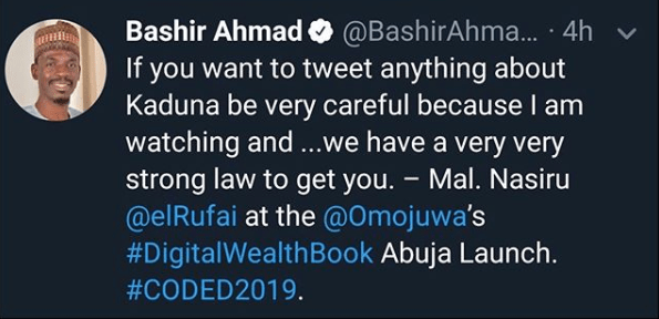 Be careful when you write anything about Kaduna on social media because we will get you - Governor Nasir El-Rufai